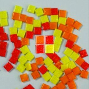 Billigtpyssel.se | MosaixPro - glasmosaik 10 x 10 mm - röd-mix 200 g ~ 302 st.