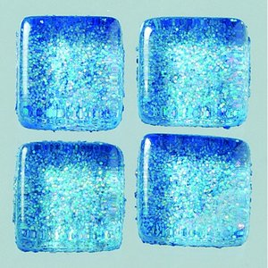 Billigtpyssel.se | MosaixPro-glasmosaik Glitter 10 x 10 x - blå 200 g ~ 215 st.