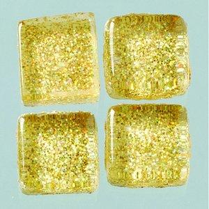Billigtpyssel.se | MosaixPro-glasmosaik Glitter 10 x 10 x - guld 200 g ~ 215 st.