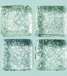 Billigtpyssel.se | MosaixPro-glasmosaik Glitter 10 x 10 x - silver 200 g ~ 215 st.