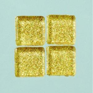 Billigtpyssel.se | MosaixPro-glasmosaik Glitter 15 x 15 x - guld 200 g ~ 95 st.