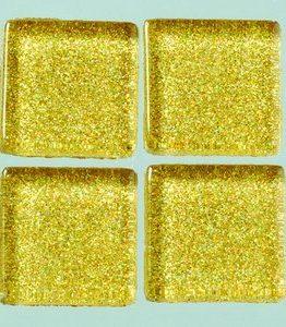 Billigtpyssel.se | MosaixPro-glasmosaik Glitter 20 x 20 x - guld 200 g ~ 41 st.