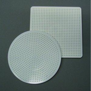 Billigtpyssel.se | Nabbi pärlplatta 15 cm - vit 2 st. mix rund / fyrkantig