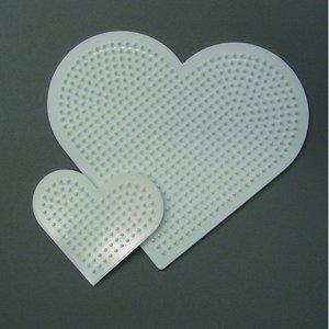 Billigtpyssel.se | Nabbi pärlplatta 16 / 8 cm - vit 2 st. mix hjärta
