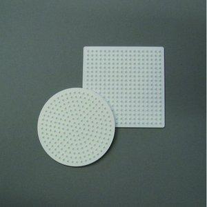 Billigtpyssel.se | Nabbi pärlplatta 9 cm - vit 2 st. mix rund / fyrkantig