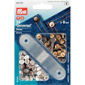 Billigtpyssel.se | Nitar mässing silverfärg/förgyllda 9 mm 24 st