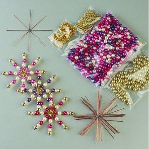 Billigtpyssel.se | Pärlstjärna hantverkskit ø 10 cm - guld / flera färger 10 st