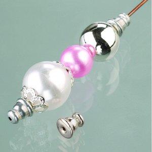 Billigtpyssel.se | Pärlstoppare 3 mm x 6 mm - försilvrade 8 st