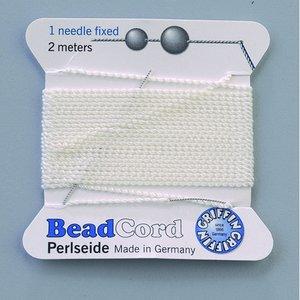 Billigtpyssel.se | Pärltråd 1 nål fixerad - vit 2 m