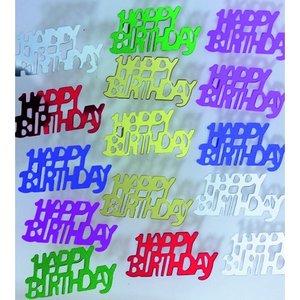Billigtpyssel.se | Paljetter 15 x 30 mm - blandade färger 20 g Happy Birthday