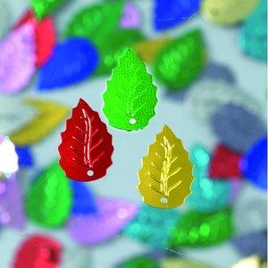 Billigtpyssel.se | Paljetter löv relief 12 x 18 mm - flera färger blandade 2 g / ~ 33 st.