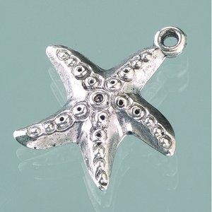 Billigtpyssel.se | Plastamulett ø 23 mm - åldrat silver 3 st. sjöstjärna