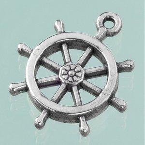 Billigtpyssel.se | Plastamulett ø 27 mm - åldrat silver 4 st. skeppshjul