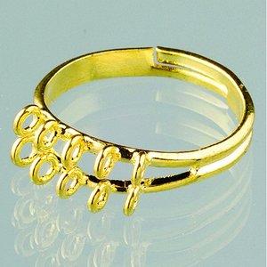 Billigtpyssel.se | Ring ø 16-18 mm - guldpläterade 2 bitar med 10 öglor