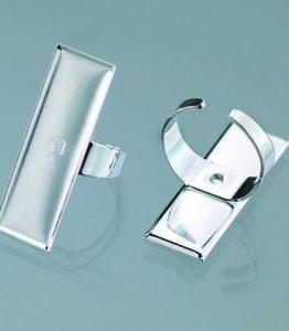 Billigtpyssel.se | Ring för mosaik 12 x 35 mm - försilvrad rektangulär