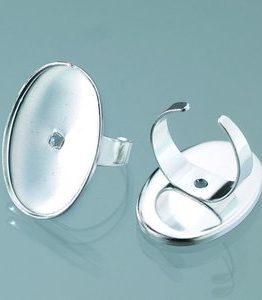 Billigtpyssel.se   Ring för mosaik 22 x 32 mm - försilvrad oval