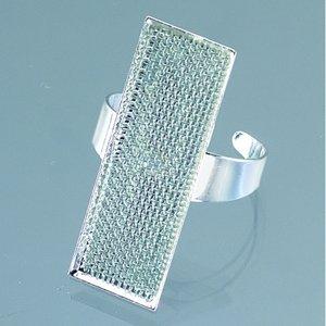 Billigtpyssel.se   Ring med sil 12 x 35 mm - försilvrad rektangulär