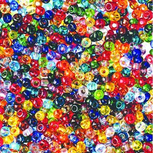 Billigtpyssel.se | Rocaillespärlor genomskinliga - blandade färger