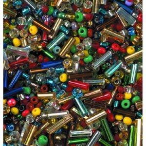 Billigtpyssel.se | Rocaillespärlor rund och stavformad mix - blandade färger