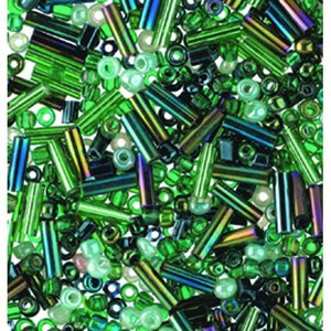 Billigtpyssel.se | Rocaillespärlor rund och stavformad mix - grön
