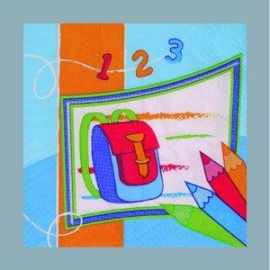 Billigtpyssel.se   Servett - 3 lager 33 x 33 cm - blå flera färger 20-pack Skolstart