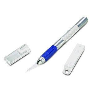 Billigtpyssel.se | Skalpell i aluminium med mjukt handtag - inkl 3 knivblad