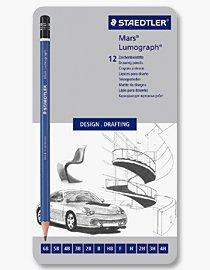 Billigtpyssel.se | Skisspennor - Mars Lumograph (Set 12 st 4H-6B)