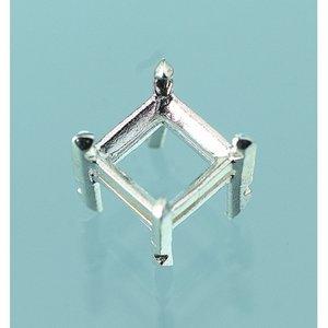 Billigtpyssel.se | Smyckesdel 5 x 5 mm - 980 silver 1 st. snedslipad fyrkantig bit