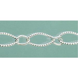 Billigtpyssel.se   Smyckeskedja 23 cm - försilvrad 1 st. oval struktur