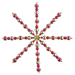 Billigtpyssel.se | Ståltrådsstjärna med pärlor ø 15 cm - röd / guld 1 st hantverkskit