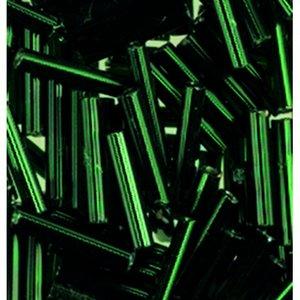 Billigtpyssel.se | Stavpärlor silverlinjerade ø 2 x 11 mm - grön 15 g