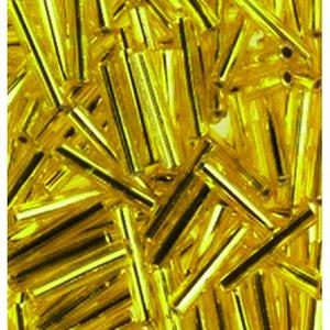 Billigtpyssel.se | Stavpärlor silverlinjerade ø 2 x 11 mm - gul 15 g