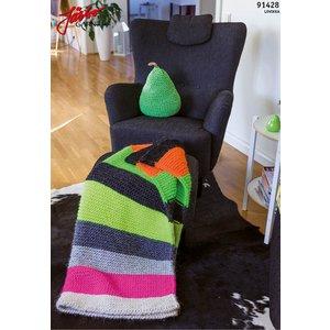 Billigtpyssel.se   Stickmönster - Färgstark filt i neon lovikka