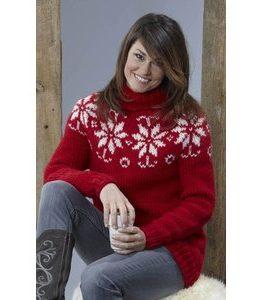Billigtpyssel.se | Stickmönster - Mönsterstickad tröja (vinterblommor)
