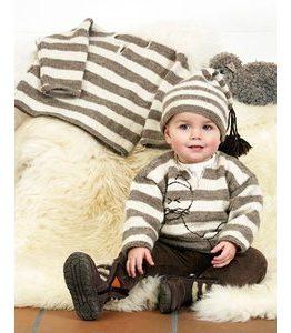 Billigtpyssel.se | Stickmönster - Randmönstrad tröja med eller utan broderad katt och mössa