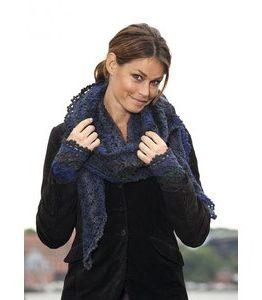 Billigtpyssel.se   Stickmönster - Spetsmönsterstickad sjal och pulsvärmare