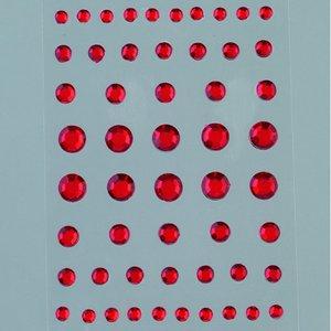 Billigtpyssel.se | Strass akryl självhäftande 4 5 6 8 mm - röda 54-pack Rund