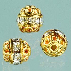 Billigtpyssel.se   Strasspärlor filigran 6 mm - kristall / guld 4 st.