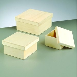Billigtpyssel.se | Trälåda set 16 x 16 x 8 cm - obehandlat 3 delar