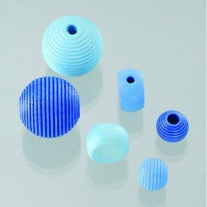 Billigtpyssel.se | Träpärlor - blåmix 25 st. färg-form mix