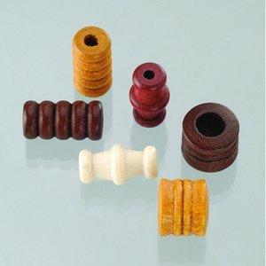 Billigtpyssel.se | Träpärlor - brunmix 28 st. färg-form mix