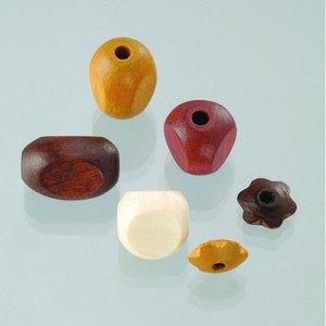 Billigtpyssel.se | Träpärlor - brunmix 30 st. färg-form mix