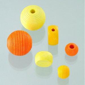 Billigtpyssel.se | Träpärlor - gulmix 25 st. färg-form mix