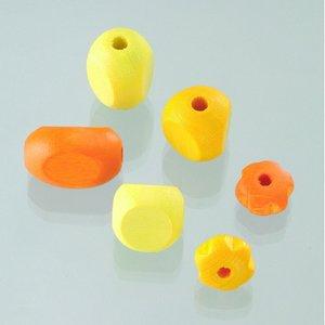 Billigtpyssel.se   Träpärlor - gulmix 30 st. färg-form mix