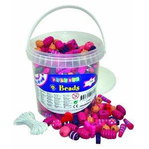 Billigtpyssel.se | Träpärlor i hink Rosa & Lila - 250 g