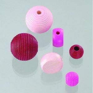 Billigtpyssel.se | Träpärlor - rosamix 25 st. färg-form mix