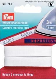 Billigtpyssel.se | Tvättmärkningsband påstrykes CO 11mm vit 3 m
