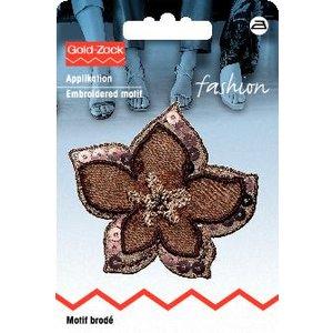 Billigtpyssel.se | Tygmärke Blomma brun organza med paljetter