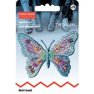 Billigtpyssel.se | Tygmärke Fjäril exklusiv pastell blå med pärlor