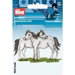 Billigtpyssel.se | Tygmärke Hästar vit